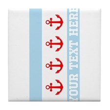 Personalized Nautical Chicago Flag Tile Coaster