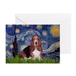 Starry / Basset Hound Greeting Cards (Pk of 20)