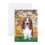 Monet's Spring & Basset Greeting Cards (Pk of 20)