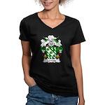 Lordelo Family Crest Women's V-Neck Dark T-Shirt
