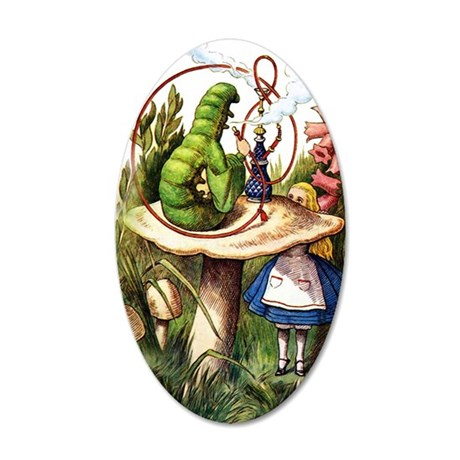 Alice Meets the Caterpillar 35x21 Oval Wall Decal