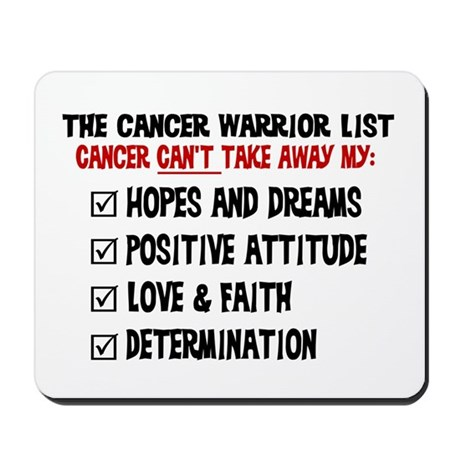 The Cancer Warrior List Mousepad