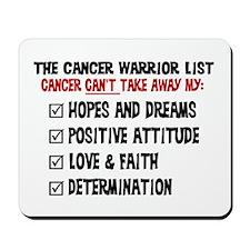 The Cancer Warrior List Mousepad