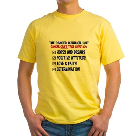 The Cancer Warrior List Yellow T-Shirt