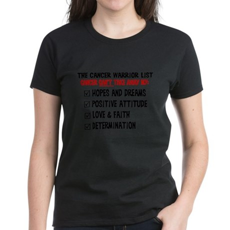 The Cancer Warrior List Women's Dark T-Shirt