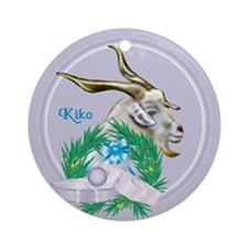 Kiko Goat Tropical Holiday Ornament (Round)