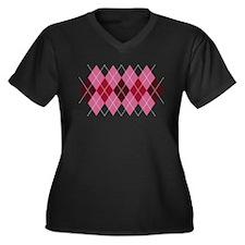 Pink Argyle Women's Plus Size V-Neck Dark T-Shirt