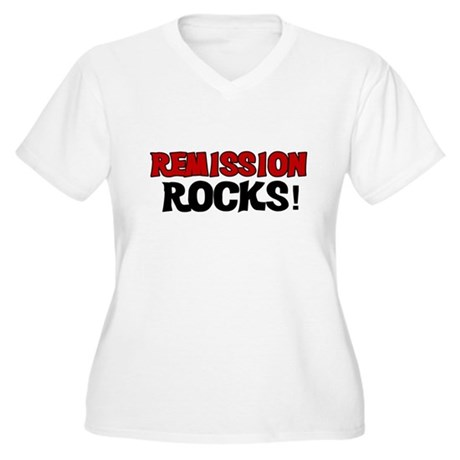 Remission Rocks Women's Plus Size V-Neck T-Shirt