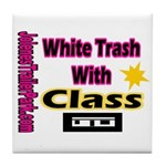 JTP Logo White Trash With Cla Tile Coaster