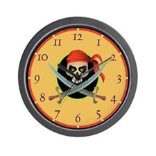 Crossed Swords Pirate Wall Clock