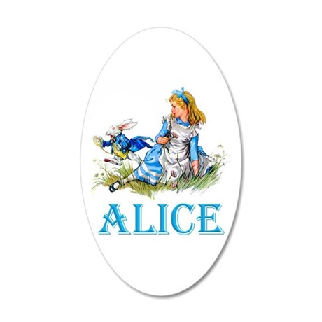 Alice and the White Rabbit 20x12 Oval Wall Decal