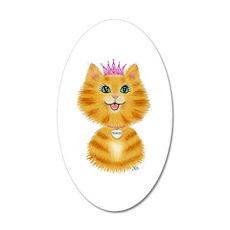 Orange Tabby Cat Princess 20x12 Oval Wall Decal