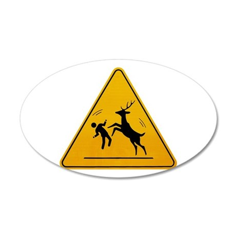 Deer Attack!!! 35x21 Oval Wall Decal