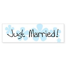 Blue Flowers Just Married Bumper Bumper Sticker
