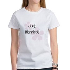 Pink Flowers Just Married Tee