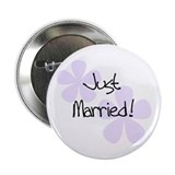 Lilac Flowers Just Married Button