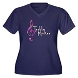 Treble Maker Women's Plus Size V-Neck Dark T-Shirt