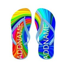 Blue Pop Art Flip Flops