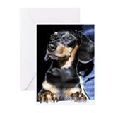 Looking Up Miniature Dachshund Greeting Cards