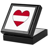 Austrian Flag Heart Keepsake Box