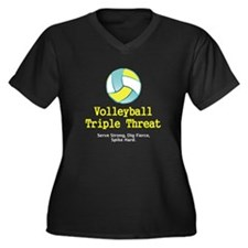 TOP Volleyball Slogan Women's Plus Size V-Neck Dar