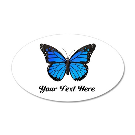 Blue Butterfly Custom Text 35x21 Oval Wall Decal