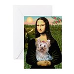Mona & her Yorkie (T) Greeting Cards (Pk of 10)