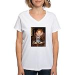 The Queen's Yorkie (T) Women's V-Neck T-Shirt