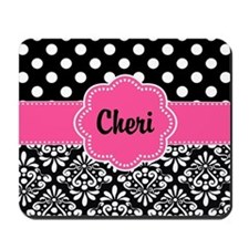 Pink Dots Damask Personalized Mousepad
