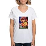 Mandolin Angel & Yorkie (T) Women's V-Neck T-Shirt
