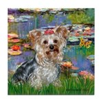 LILIES / Yorkie (T) Tile Coaster