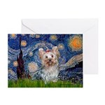 Starry Night Yorkie (T) Greeting Card