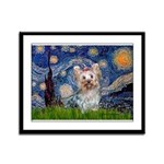 Starry Night Yorkie (T) Framed Panel Print