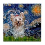 Starry Night Yorkie (T) Tile Coaster