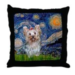 Starry Night Yorkie (T) Throw Pillow