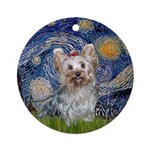 Starry Night Yorkie (T) Ornament (Round)