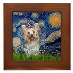 Starry Night Yorkie (T) Framed Tile