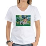 Bridge / Yorkie (T) Women's V-Neck T-Shirt