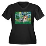 Bridge / Yorkie (T) Women's Plus Size V-Neck Dark