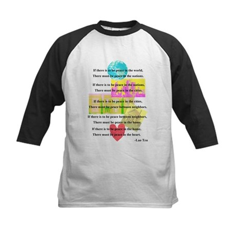 Peace Quote Kids Baseball Jersey
