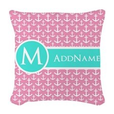 Aqua and Pink Anchor Pattern Personalized Woven Th