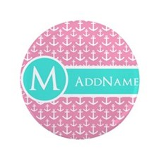 Aqua and Pink Anchor Pattern Personalized Button