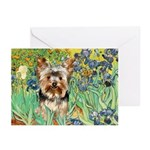 IRISES / Yorkie (17) Greeting Cards (Pk of 20)