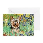 IRISES / Yorkie (17) Greeting Cards (Pk of 20)