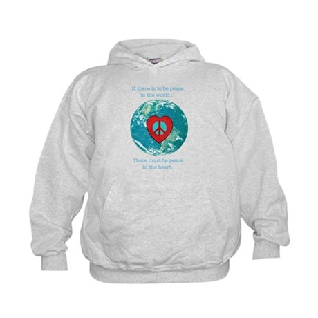 World Peace Heart Kids Hoodie
