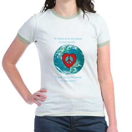 World Peace Heart Jr. Ringer T-Shirt