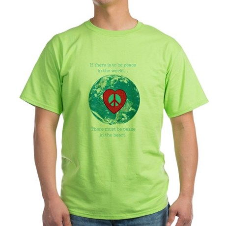 World Peace Heart Green T-Shirt