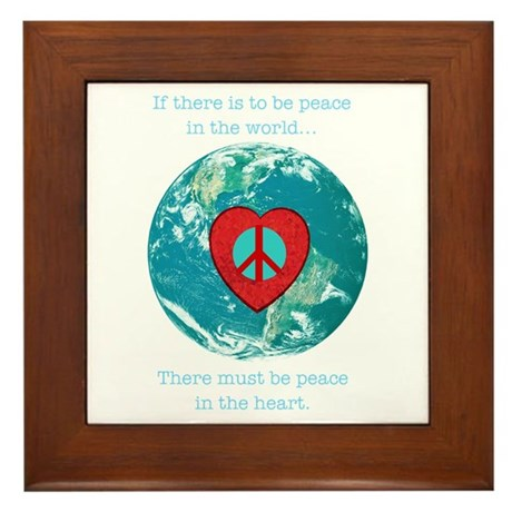 World Peace Heart Framed Tile