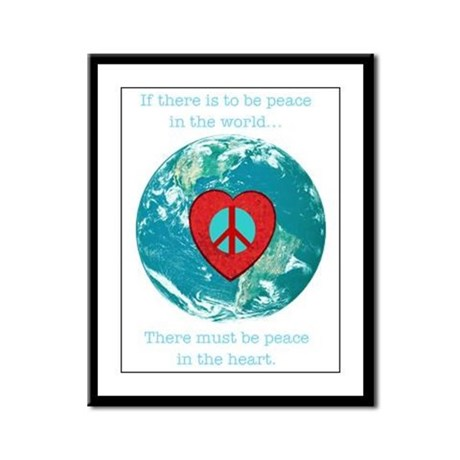 World Peace Heart Framed Panel Print