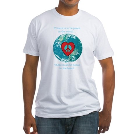 World Peace Heart Fitted T-Shirt